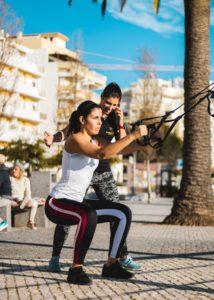 Luísa Raposo ministrando um treino outdoor